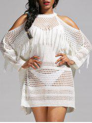 Crochet Tassel Cold Shoulder Cover Up