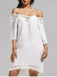 Crochet Tunic Cover Up Dress for Beach - WHITE