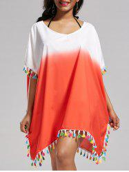 Tassel Trim Ombre Cover Up Dress - Saumon Foncé