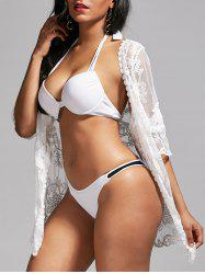 Mesh Lace Summer Kimono Cover Up - WHITE