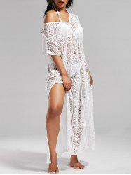 Sheer Lace V Neck Maxi Cover Up Dress with Sleeves