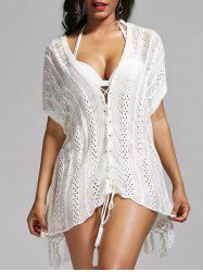 Lace Up Crochet Tassel Cover Up