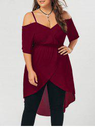 Plus Size Open Shoulder Long Chiffon High Low Top - WINE RED