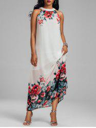 Sleeveless Chiffon Floral Maxi Summer Dress - WHITE