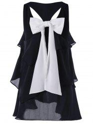 Racerback Layered Bowknot Party Tunic Top - BLACK