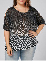 Slit Sleeve Polka Dot Plus Size Blouse