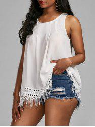 Fringed Sleeveless Openwork Insert Blouse