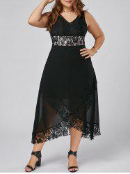Lace Trim Plus Size V Neck Maxi Cocktail Dress - Noir