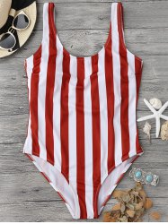 Shaping Striped One Piece Swimsuit - RED WITH WHITE