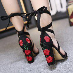 Tie Up Embroidery Block Heel Sandals - BLACK