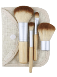 4Pcs Portable Bamboo Makeup Brushes Set with Bag - WOOD
