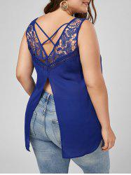 Lattice Plus Size Lace Trim High Low Tank