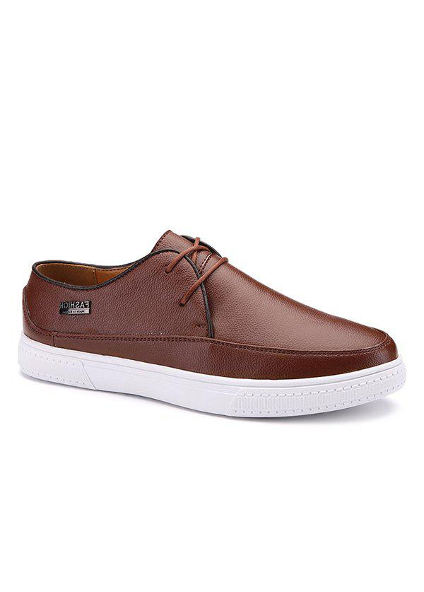 Store Letter Textured Leather Casual Shoes