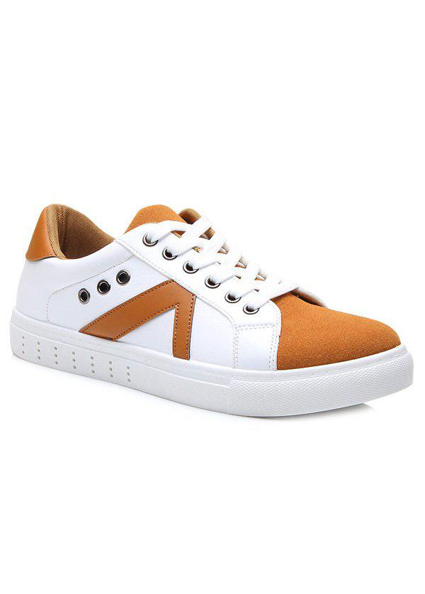 New Eyelets Color Block Lace-Up Casual Shoes
