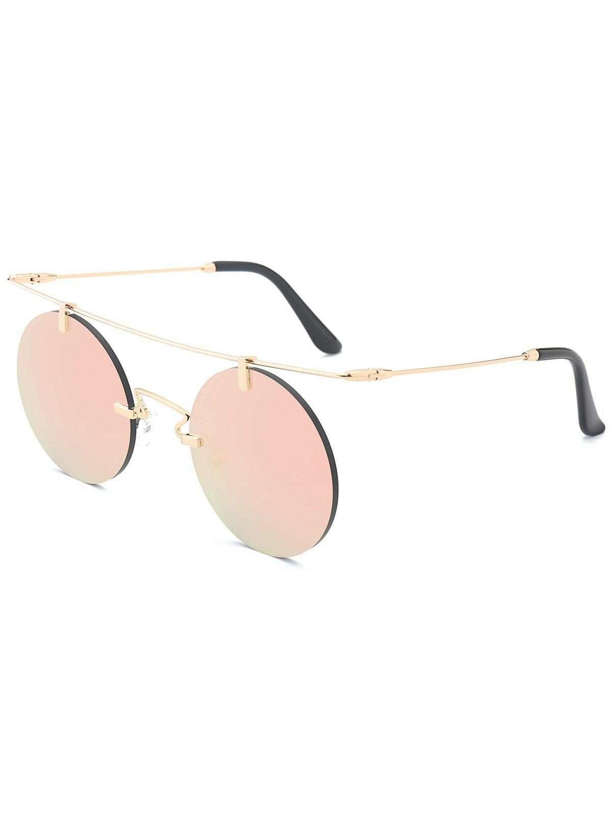 Outfits Mirror Straight Long Crossbar Round Rimless Sunglasses