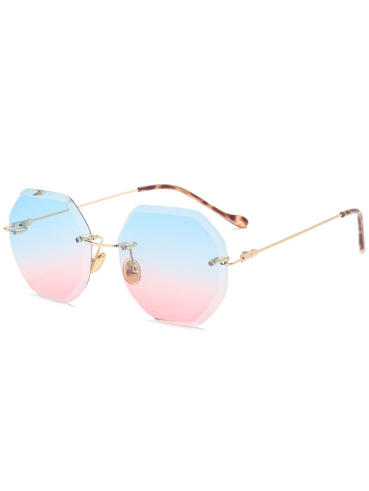 eff68342cb Outfit Gradient Color Geometrical Rimless Sunglasses