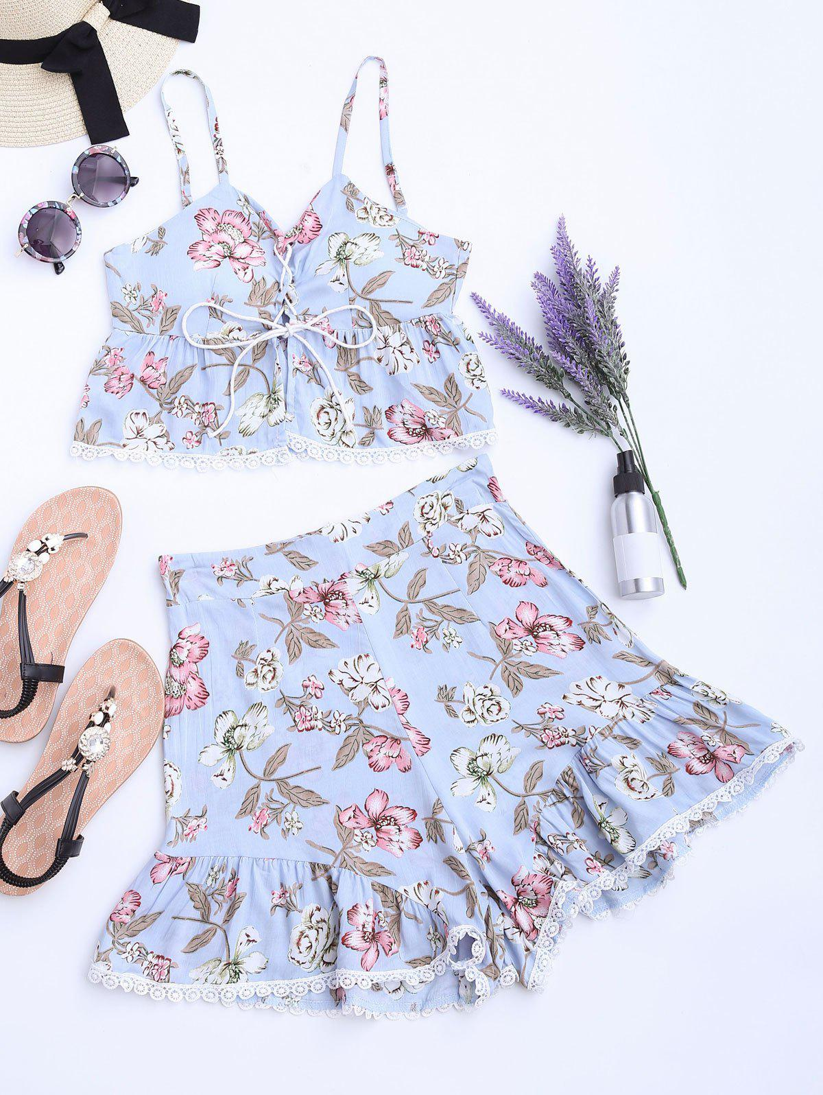 Fashion Floral Lace-up Camis and High Waisted Shorts