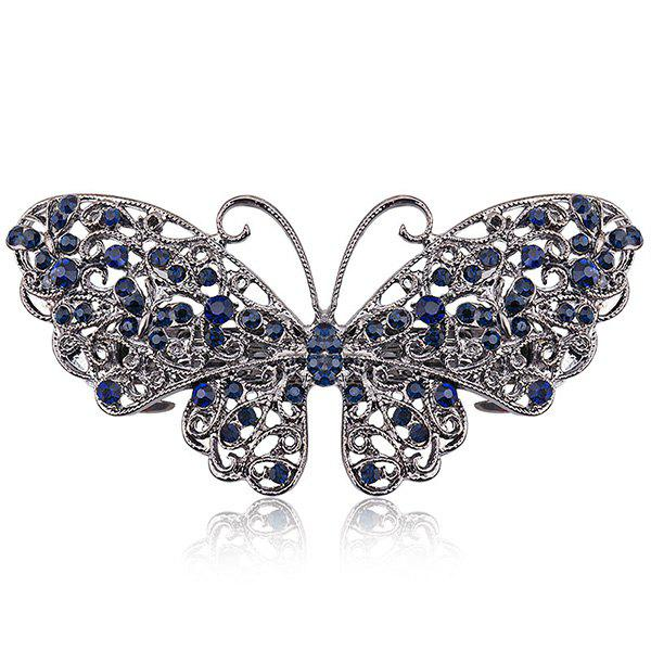 Fashion Alloy Hollow Out Butterfly Faux Sapphire Barrette