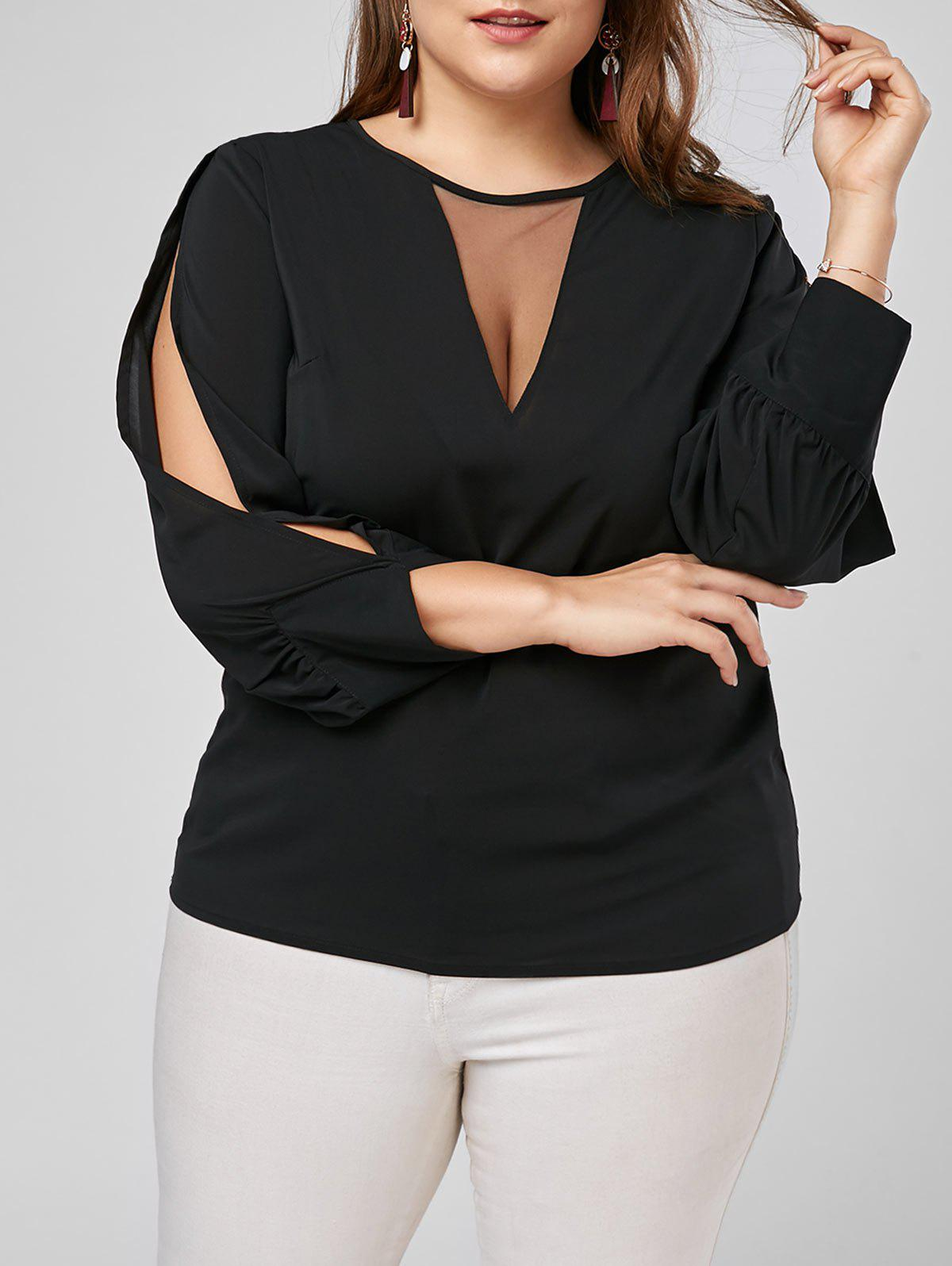 Split Long Sleeve Plus Size Mesh Trim TopWOMEN<br><br>Size: 3XL; Color: BLACK; Material: Polyester; Shirt Length: Regular; Sleeve Length: Full; Collar: Round Neck; Style: Fashion; Season: Spring,Summer; Pattern Type: Solid; Weight: 0.2200kg; Package Contents: 1 x Top;