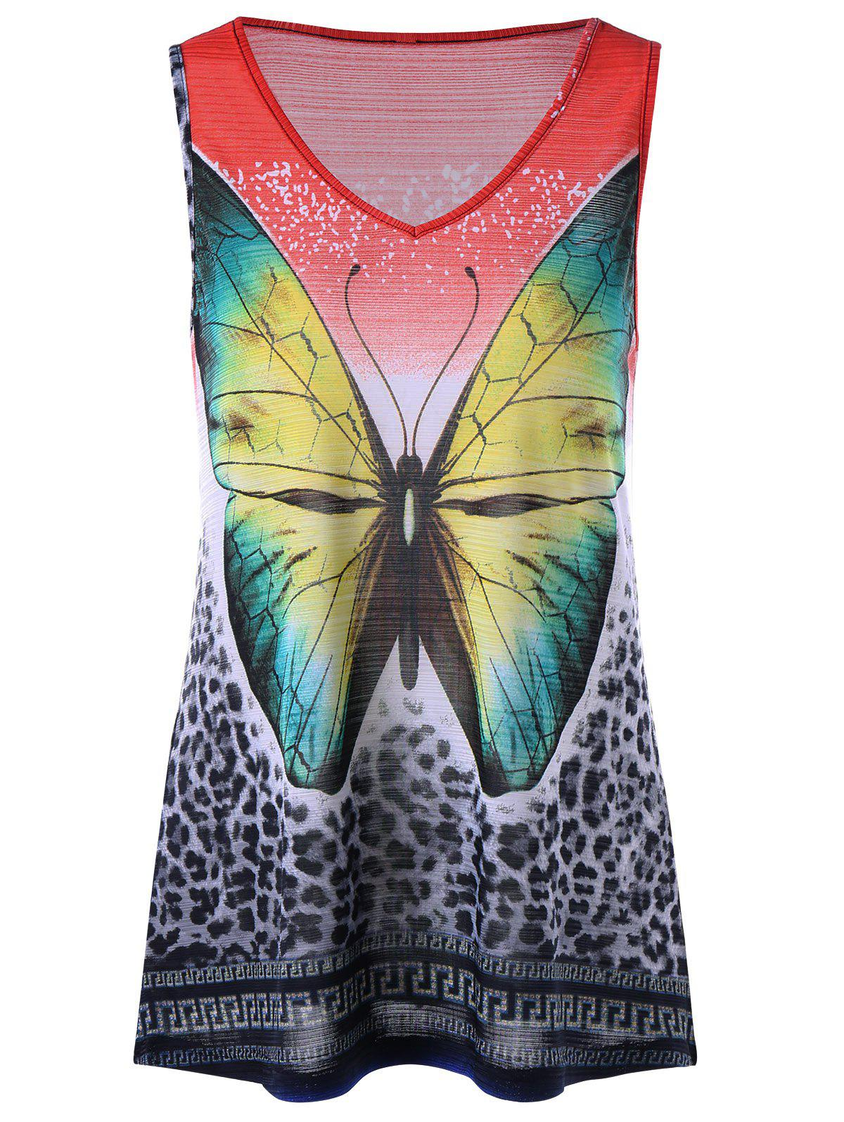 Buy Leopard with Butterfly V Neck Sleeveless T-shirt