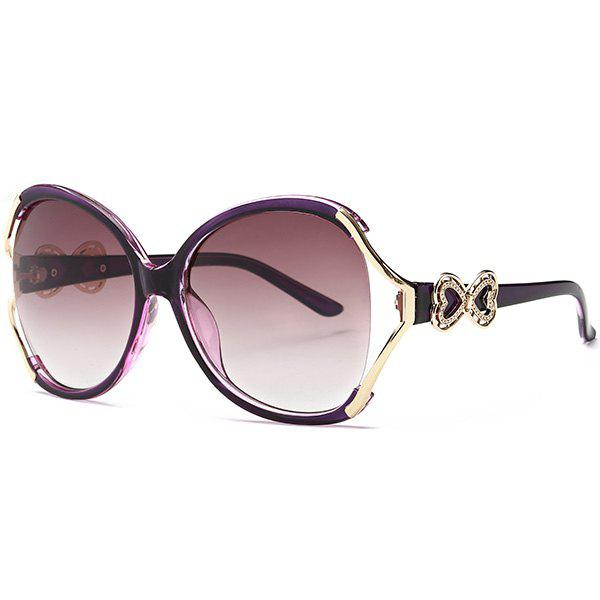 Two Tone Wide Tiny Bowkont Embellished SunglassesACCESSORIES<br><br>Color: PURPLE; Group: Adult; Gender: For Women; Style: Fashion; Lens material: Resin; Frame material: Other; Frame Color: Multicolor; Lens height: 5.7CM; Lens width: 6.0CM; Temple Length: 13.7CM; Nose: 1.5CM; Frame Length: 15.0CM; Weight: 0.0840kg; Package Contents: 1 x Sunglasses;