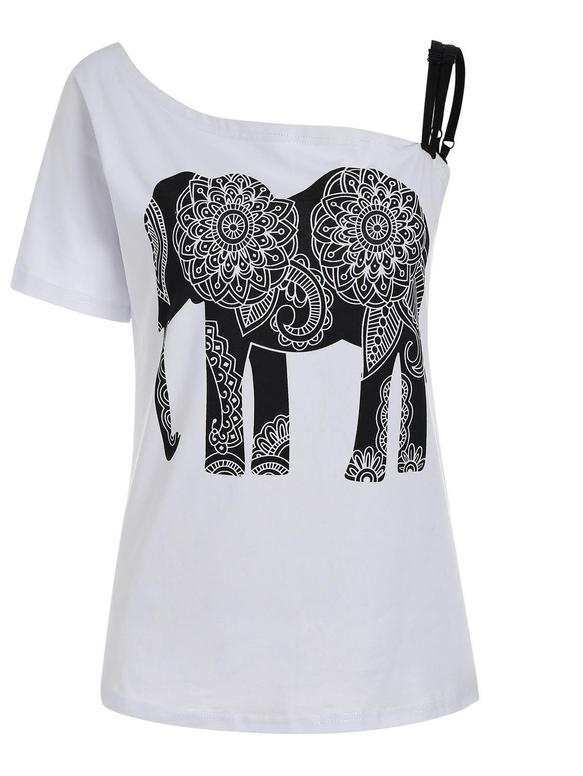 Fashion Elephant Print Skew Collar Tee