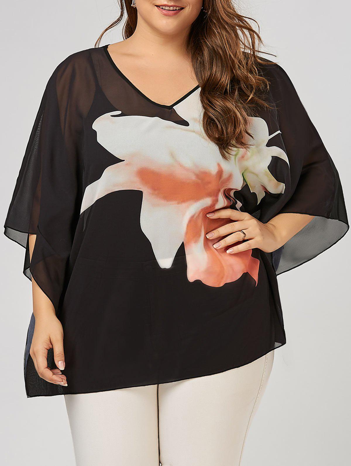8e5104a914f0 31% OFF] Plus Size Floral Pattern V Neck Batwing Sleeve Tunic Top ...