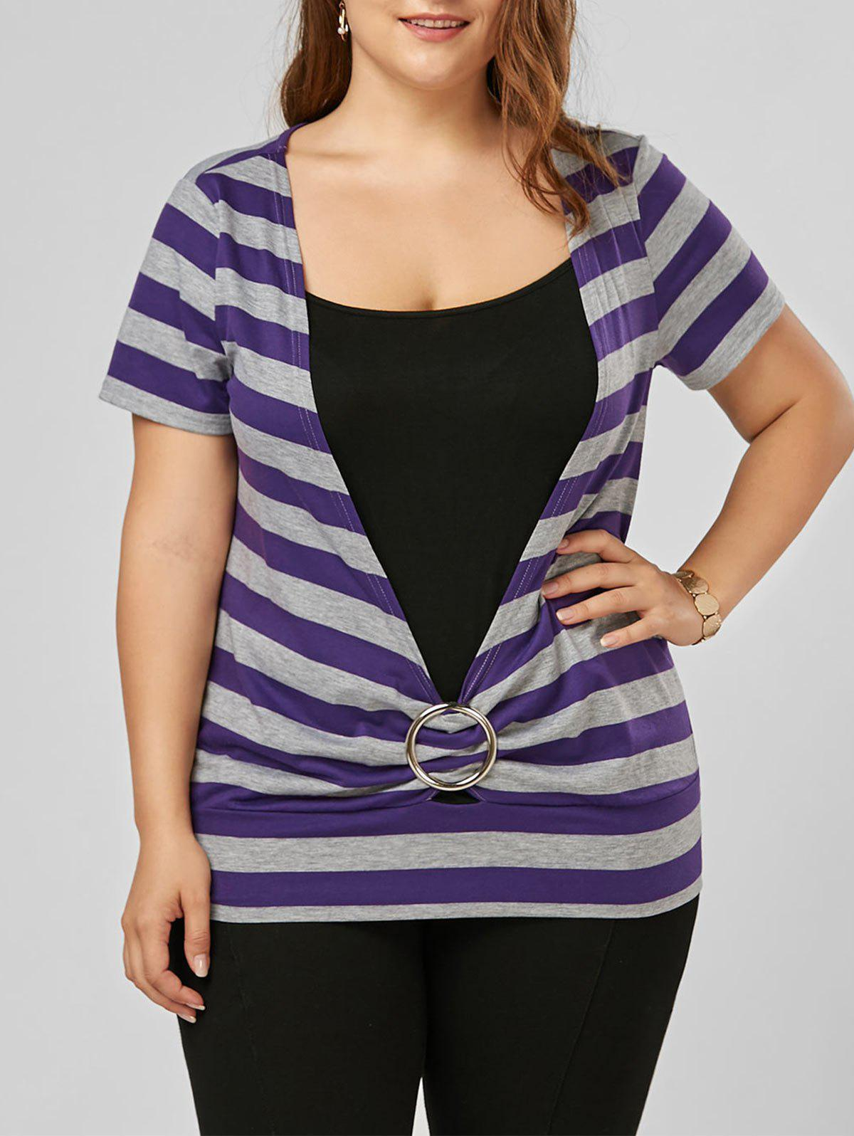 Striped Plus Size T-ShirtWOMEN<br><br>Size: 2XL; Color: PURPLE; Material: Polyester; Shirt Length: Regular; Sleeve Length: Short; Collar: Scoop Neck; Style: Casual; Season: Summer; Pattern Type: Striped; Weight: 0.2000kg; Package Contents: 1 x T-Shirt;