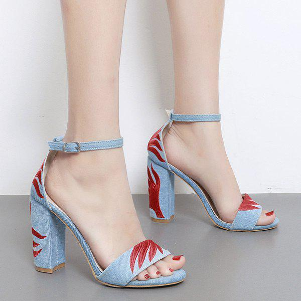 Online Ankle Strap Block Heel Embroidery Sandals