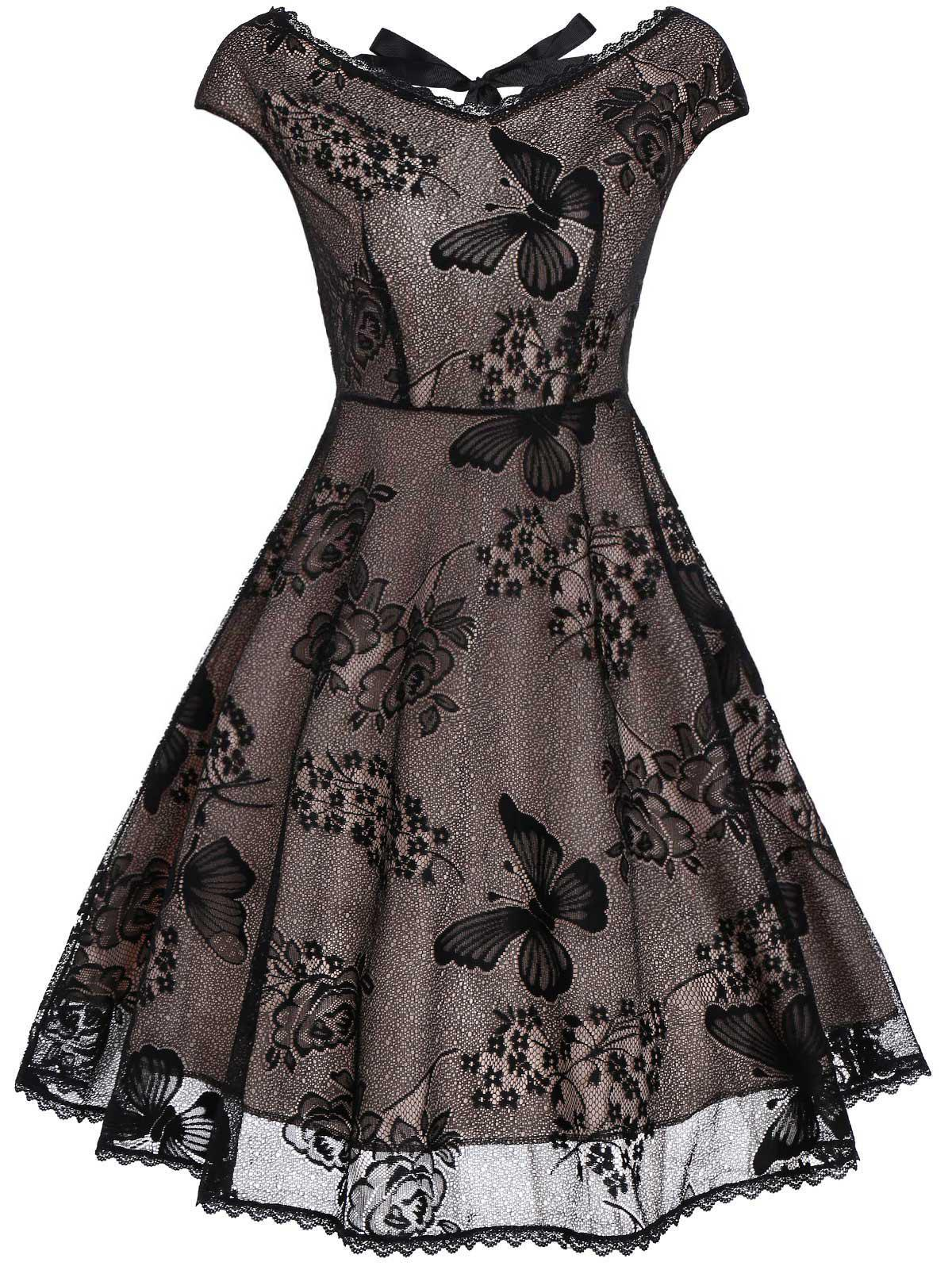 Back Cutout Lace Vintage Fit and Flare DressWOMEN<br><br>Size: XL; Color: BLACK; Style: Vintage; Material: Lace,Polyester; Silhouette: A-Line; Dress Type: Fit and Flare Dress,Overlay Dress; Dresses Length: Mini; Neckline: V-Neck; Sleeve Length: Short Sleeves; Embellishment: Lace,Panel; Pattern Type: Floral; With Belt: No; Season: Summer; Weight: 0.3500kg; Package Contents: 1 x Dress;