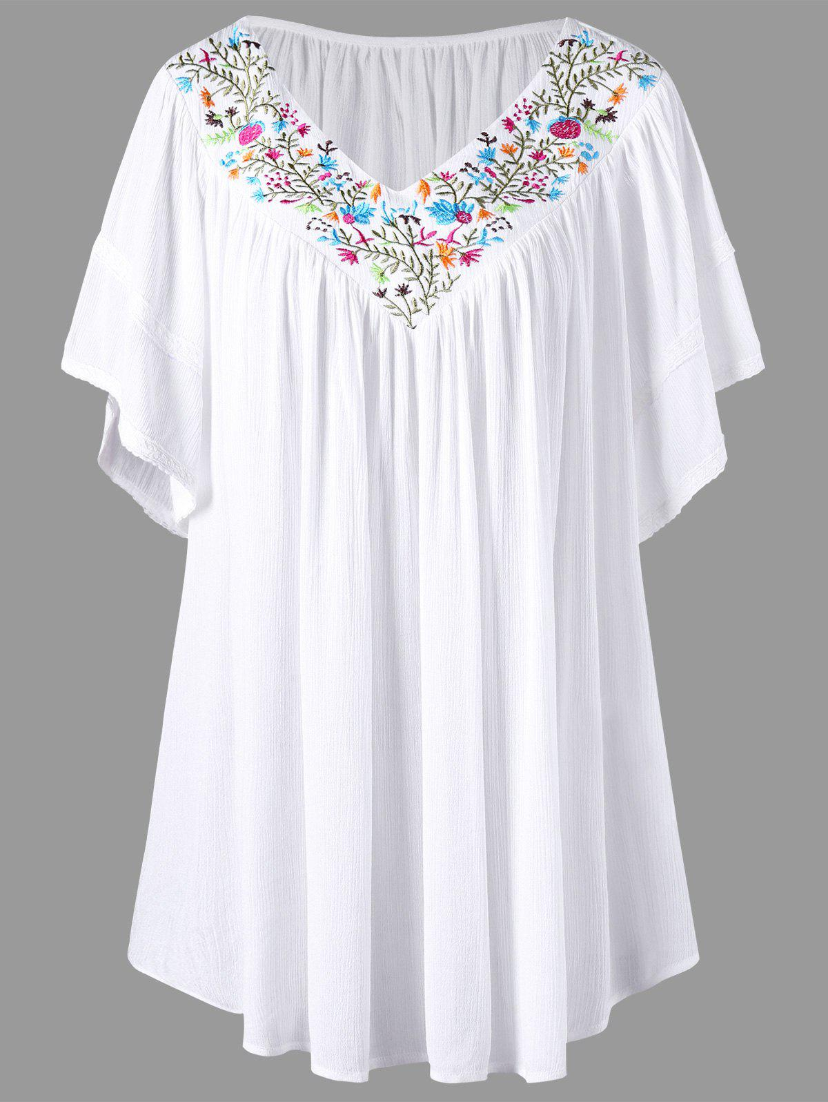 Embroidery V Neck Plus Size BlouseWOMEN<br><br>Size: 3XL; Color: WHITE; Material: Rayon,Spandex; Shirt Length: Long; Sleeve Length: Short; Collar: V-Neck; Style: Casual; Season: Summer; Pattern Type: Plant; Weight: 0.2600kg; Package Contents: 1 x Blouse;