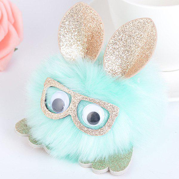 Animal Pattern Eyeglasses Pom Pom Ball KeyringJEWELRY<br><br>Color: GREEN; Gender: For Girls; Style: Trendy; Pattern Type: Round; Shape/Pattern: Animal,Ball; Weight: 0.0470kg; Package Contents: 1 x Keychain;