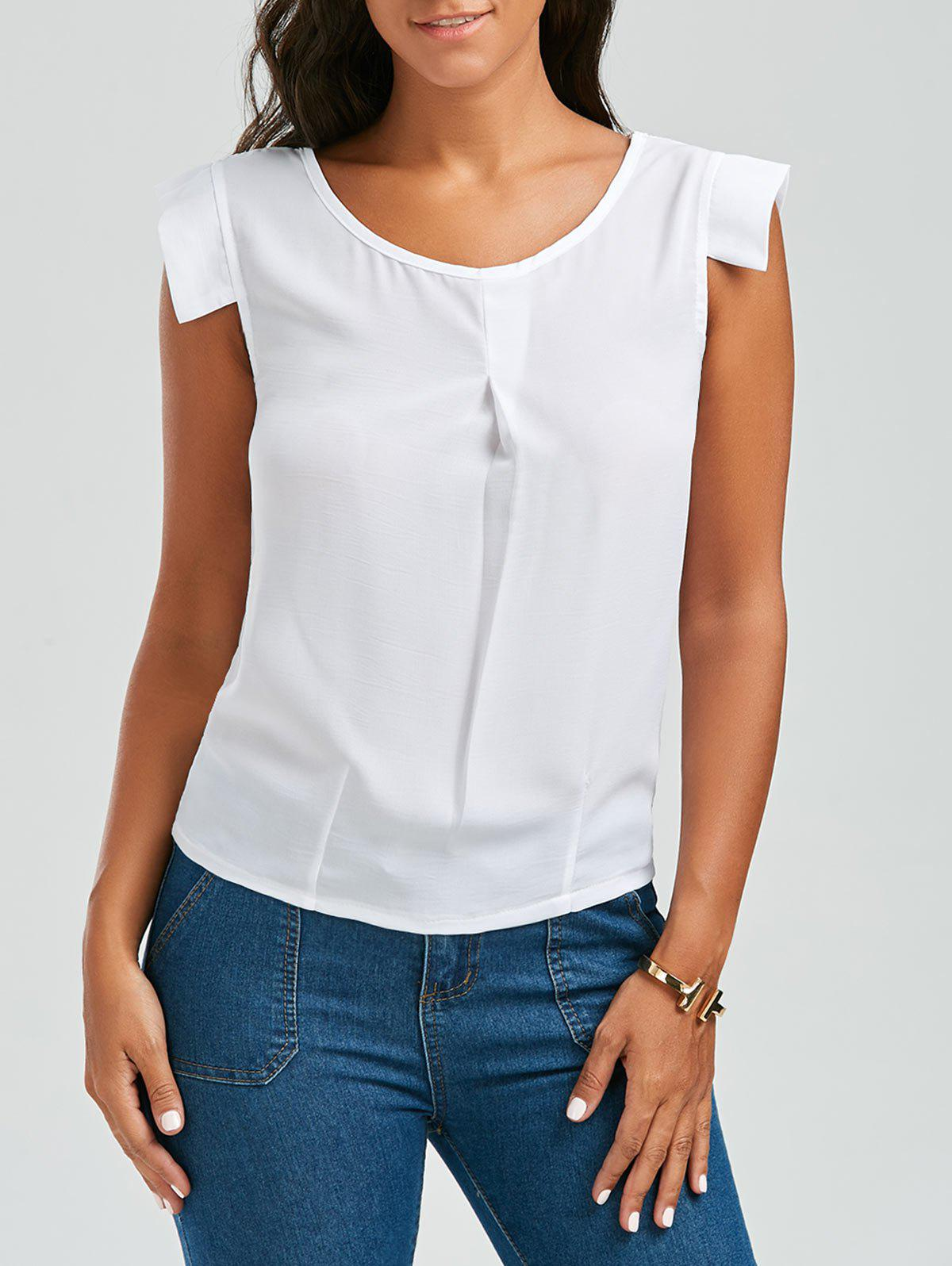 Outfit Brief Scoop Neck White Sleeveless Chiffon Blouse For Women