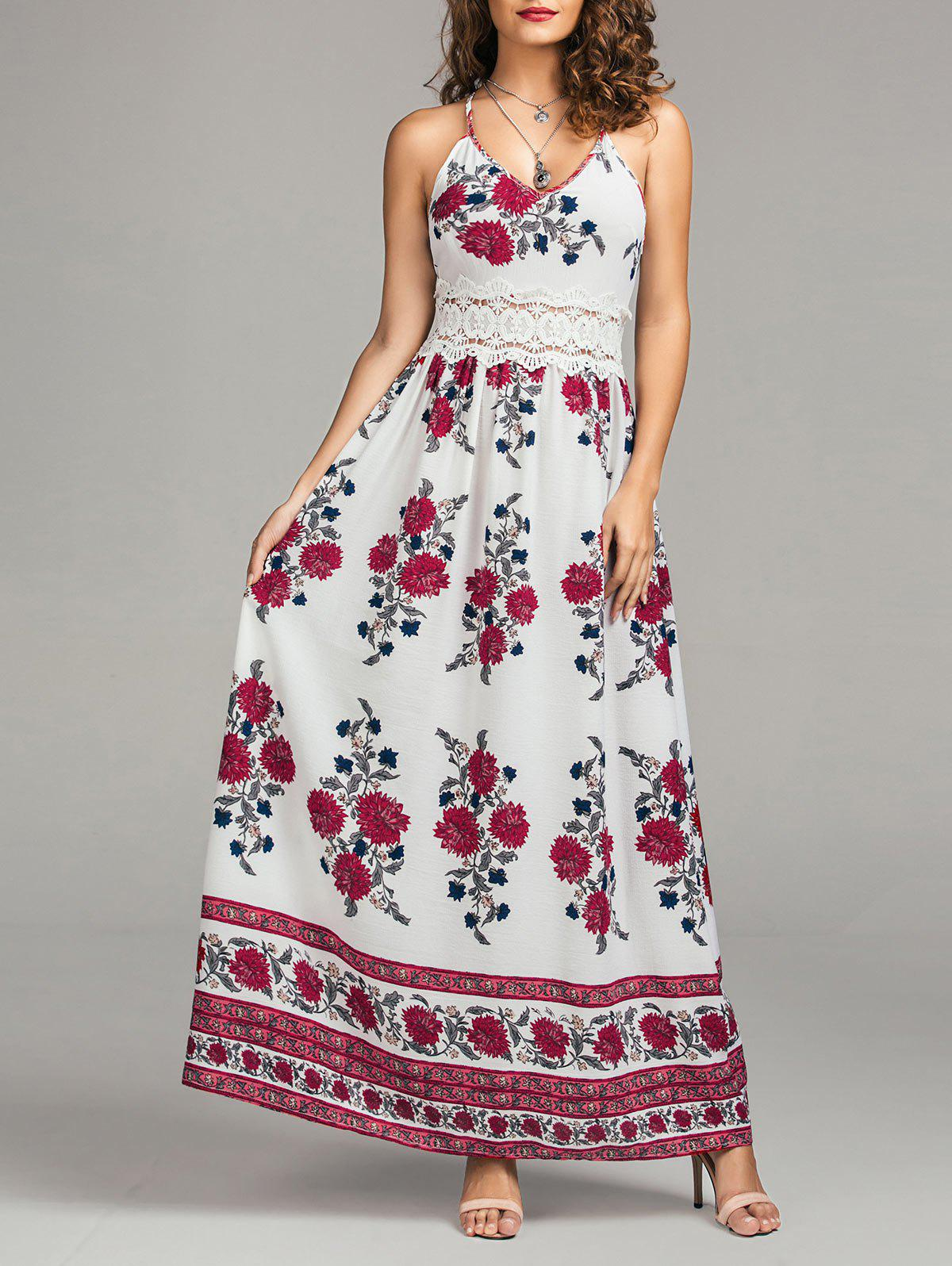 Store Maxi Floral Lace Panel Flowy Summer Dress