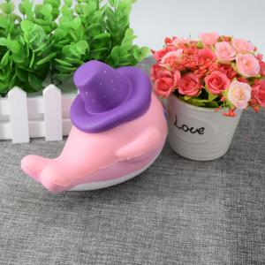 Cartoon Squishy Toy Scented Simulation Magic Hat Dolphin - PINK