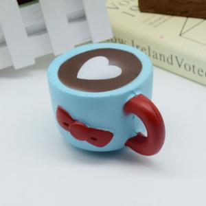 Slow Rising Squishy Toy Heart Bowknot Simulation Mug - BLUE