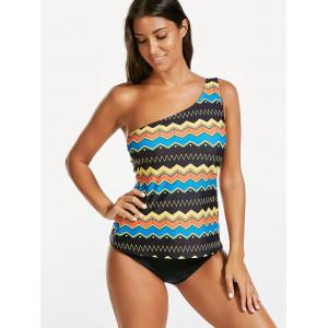 One Shoulder Printed Blouson Tankini Swimwear - COLORMIX S