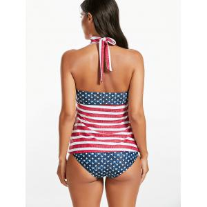 Halter American Flag Ensemble de Tankini Patriotique - Multicolore S