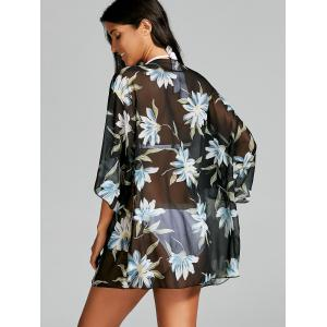 See Thru Chiffon Floral Kimono Beach Cover Up - BLACK ONE SIZE