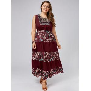 Plus Size Sleeveless Floral Maxi Prom Dress - WINE RED ONE SIZE