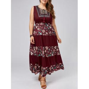 Maxi Floral Plus Size A Line Flowy Dress - Wine Red - One Size
