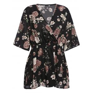 Plus Size Floral Chiffon Surplice Top - Black - 5xl