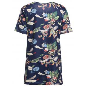 Plus Size Tropical Floral  Printed T-shirt -