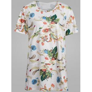 Plus Size Tropical Floral  Printed T-shirt