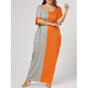 Color Block Plus Size Tee Maxi Dress - Grey And Orange - 4xl