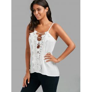 Lace Up Lace Low Cut Cami Top - WHITE S
