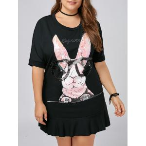 Plus Size Flounce Funny Rabbit T-shirt Dress - Black - 5xl