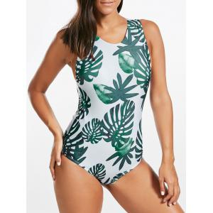 Backless Tropical Jungle Print One Piece Swimsuit