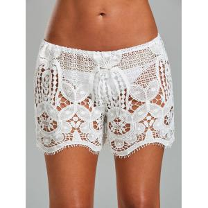 Crochet Lace Swimsuit Cover Up Shorts - White - One Size