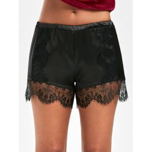 Lace Trim Satin Swimming Shorts - Black - M